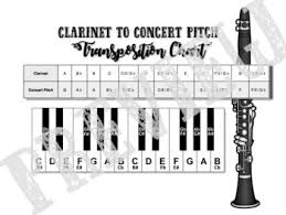 B Flat Clarinet Transposition Chart Band Concert Pitch Transposition Chart Set Bb Eb F Instruments
