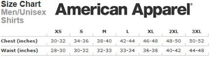 American Apparel T Shirt Size Chart Zerocarboncaravan Net