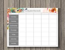 Printable Weekly Calendar Weekly Calendar Printable Family Plan Printable Schedule 22