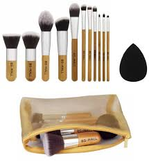 bs mall tm premium synthetic bamboo blush foundation eye shadow eyeliner bronzer makeup brushes sets