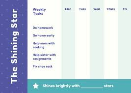 Weekly Star Chart Purple Yellow Teal Star Weekly Shining Reward Chart