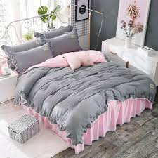 grey bedspread washed cotton bedding set pink bed skirt printed bedding sets bed cover ruffled pillowcases with lace dahdjj 3 canada 2018 from ag