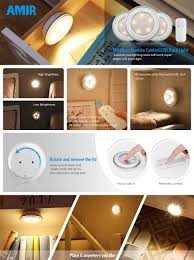 amir wireless led puck light with remote control under cabinet lighting closet night light touch switch energy saving night light for bedroom lockers