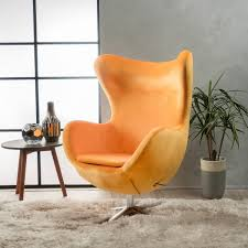Egg Shape Orange Accent Chair