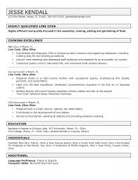 Resume Sample For Cook Free Resume Templates Resume Template