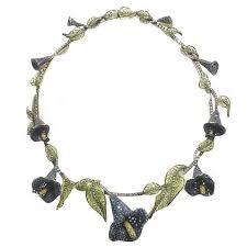 sapphire diamond calla lilly necklace for