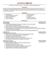 Examples Of Office Manager Resumes Examples Of Resumes
