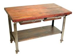 reclaimed wood top butcher block island with metal base for inspiring rustic kitchen table using single