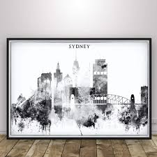 Design Print Mail Australia Amazon Com Sydney Poster Black And White Home Decor