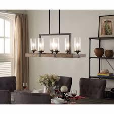 chandelier rustic wood metal dining room kitchen glass light fixture lighting