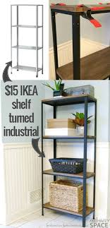 ikea industrial furniture. How To Turn IKEA Industrial -- From A Cheap Shelf Beautiful Wood And Metal Style Real Happy Space On @Remodelaholic Ikea Furniture D