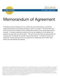 Best Photos Of Memorandum Of Agreement Sample Dv Sample