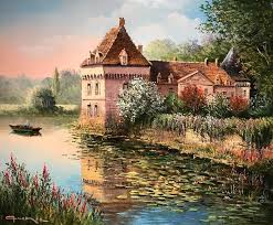 raymond quence landscape painting french cau with waterlily moat signed french impressionist oil painting