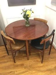 vintage retro g plan e gomme round extending dining table and 6 chairs