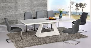 amazing outstanding modern white high gloss extending dining table and 6 modern white dining room chairs remodel