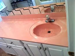 resurface bathroom sink old bathroom sink counter resurfacing pink before surface renew cabinets refinishing