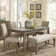 Rustic Casual 6 Piece Dining Table And Chairs Set With Bench By Pertaining To Room Tables Seating Ideas 4