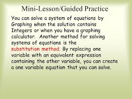 mini lesson guided practice you can solve a system of equations by graphing when