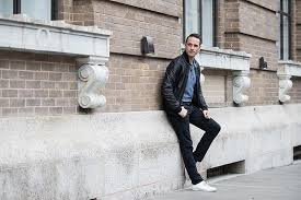 a mid 2010s update on jerry seinfeld s signature look topman er jacket j crew shirt levi s jeans and common projects sneakers