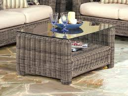wicker coffee table with wood top tables outdoor storage patio side umbrella hole