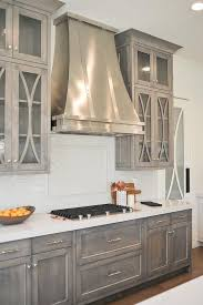 seeded glass cabinet doors on gray cabinets