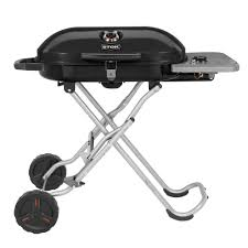 single burner portable propane gas grill in black with
