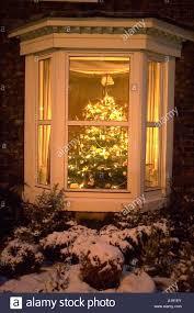 Christmas Tree In Terrace House Window Stock Photo Royalty Free Christmas Tree In Window
