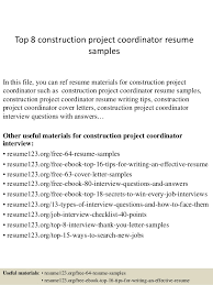 Top 8 construction project coordinator resume samples In this file, you can  ref resume materials ...