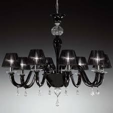 despota murano glass chandelier 8 lights black and transpa