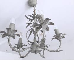 vintage grey leaves french tole chandelier light shabby re fleurs