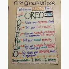 First Grade Stripes Oreo Writing Anchor Chart