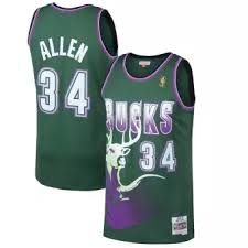 Ray Allen Milwaukee Bucks Mitchell Ness 1996 97 Hardwood Classics Swingman Jersey Kelly Green