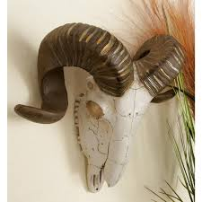 Horn Decorative Accessories Polystone Brown and White Ram Skull with Horns Wall Decor100 88