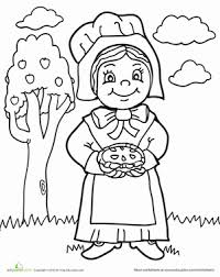 thanksgiving pilgrim girl coloring pages. Brilliant Girl Thanksgiving Preschool People Holidays Worksheets Pilgrim Girl Coloring  Page Throughout Pages I