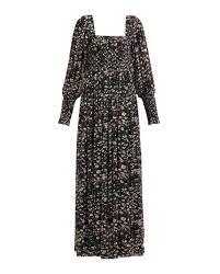 Ganni Shirred Floral Georgette Maxi Dress