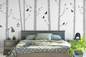 birch trees grey with birds and houses home design tree wall art stickers 5 9y awesome