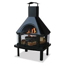 black steel outdoor wood burning fireplace