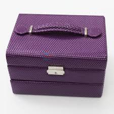 purple snake skin pu multilayer jewelry case makeup kit box sellersunion