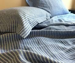 ticking stripe bedding natural linen ticking blue stripe duvet cover custom made linen bedding dorm bedding