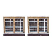 White kitchens and oak wood. Late 19th Century Traditional Pickled Walnut Cabinets With Paned Glass Doors A Pair Chairish