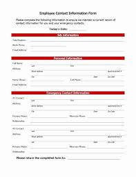 Employee Emergency Contact Form Template Beautiful 5 Emergency