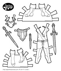 a set of paper doll fantasy armor of the sprites printable paper doll series inspired by
