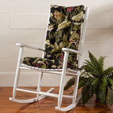 furniture white wooden indoor rocking chairs with green leaves print cushions seat on brown wooden