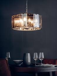 8 light pendant smoked glass grey frame