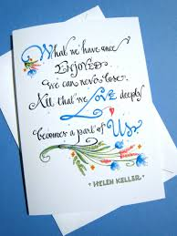 Helen Keller Quote Sympathy Card Condolence Card Loss Card Hand Lettered Memorial Card