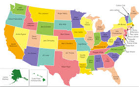 us map of most iconic athlete from each state  craveonline