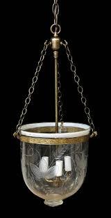 antique fl etched bell jar pendant light