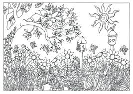 Small Picture Items similar to Printable Garden Nature Scene Coloring Page