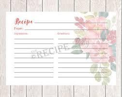 Pretty Recipe Cards Etsy