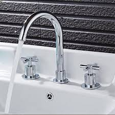 fashion copper faucet chrome widespread 8 three hole bathroom sink mixer basin faucet tap cross handle